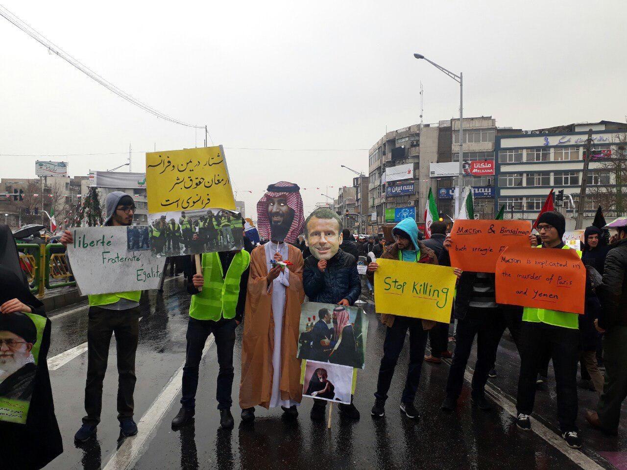 جلیقه زردهای پاریسی در راهپیمایی ۲۲ بهمن! + عکس