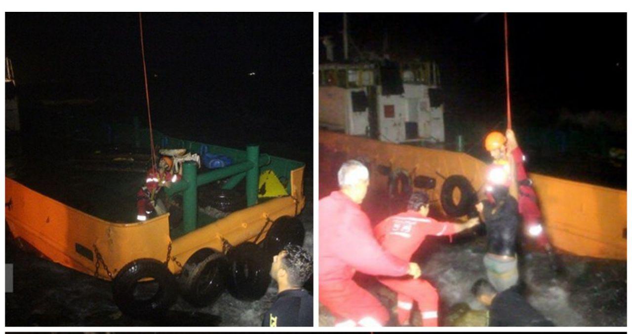 نجات ۹ دریانورد گرفتاردر طوفان شدید بندرعباس + عکس