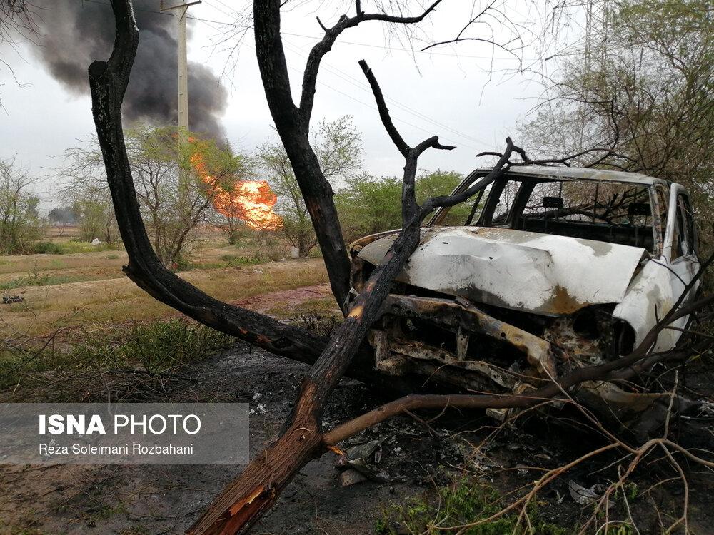 خودروهایی که در انفجار خط لوله گاز اهواز سوختند + عکس