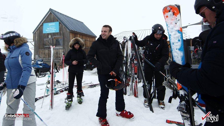 اسکی بازی رئیس جمهور فرانسه + عکس