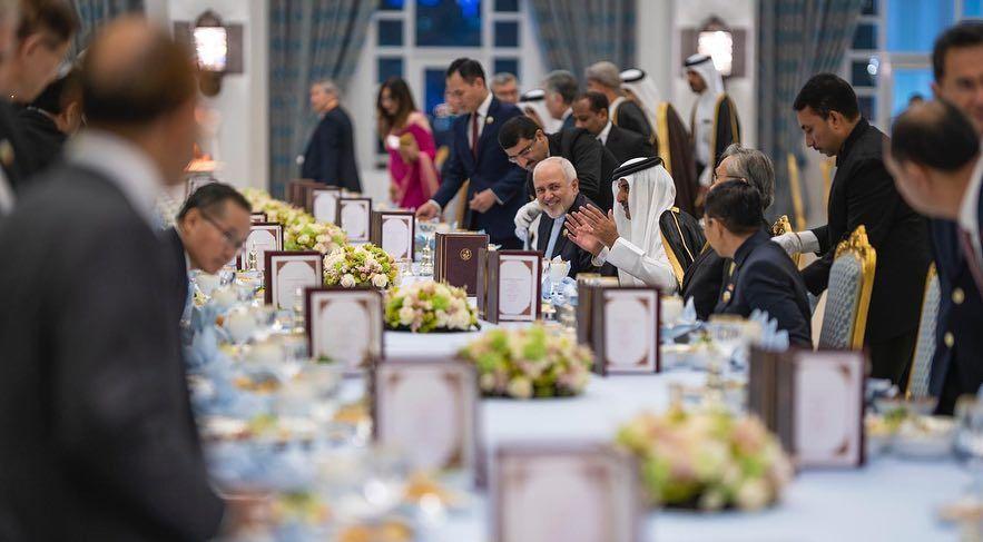 ظریف در ضیافت شام مجلل امیر قطر + عکس