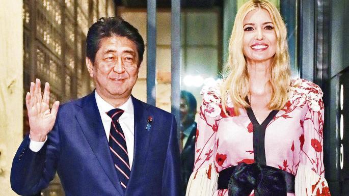 تصاویر شینزو آبه در کنار ایوانکا ترامپ