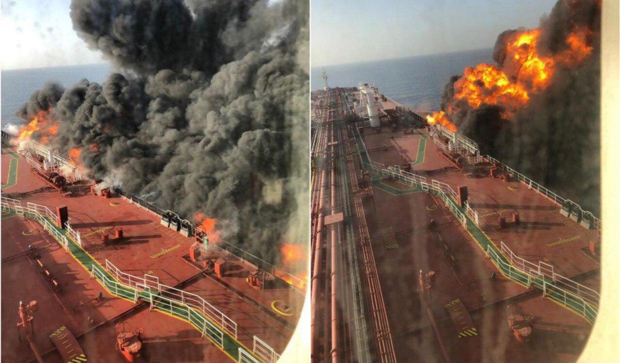 ابعاد آتش سوزی در نفتکش Front Altair در دریای عمان + عکس