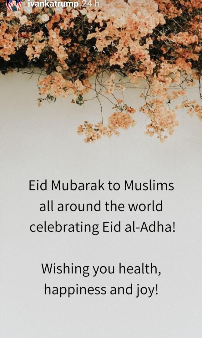 ایوانکا ترامپ عید قربان را تبریک گفت+عکس