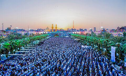 تصویری از نماز عید قربان در کربلا/بین الحرمین