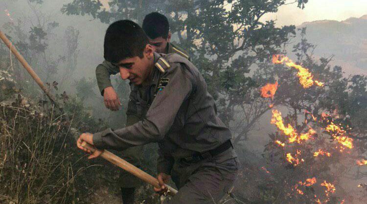 خاموش کردن آتش جنگلهای قرهداغ با امکانات اولیه + عکس