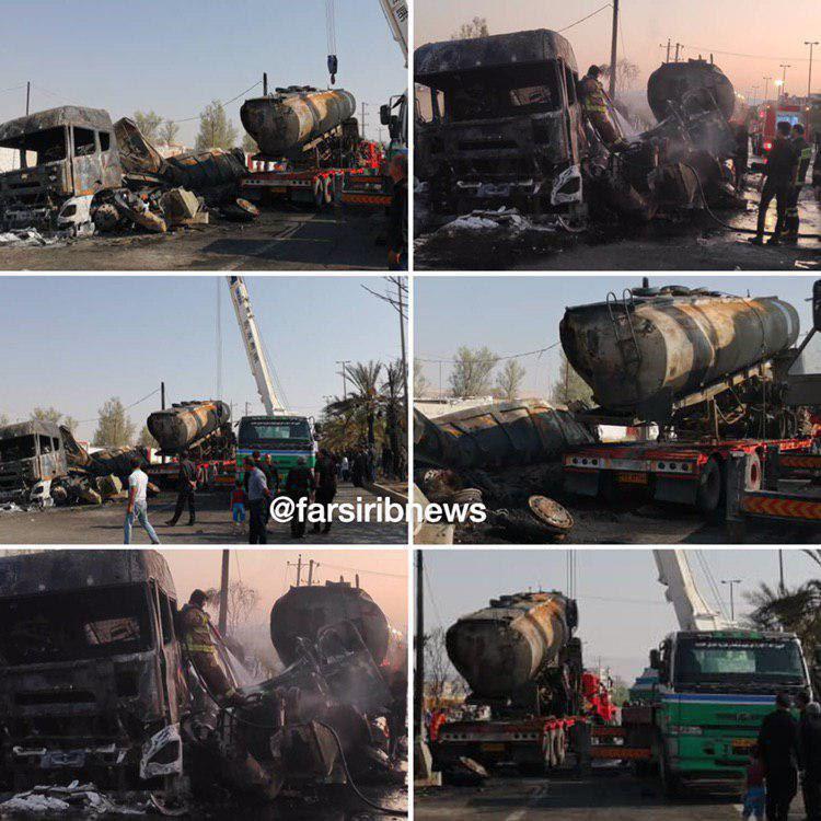 انفجار تریلر حامل بنزین در شهر لار + عکس