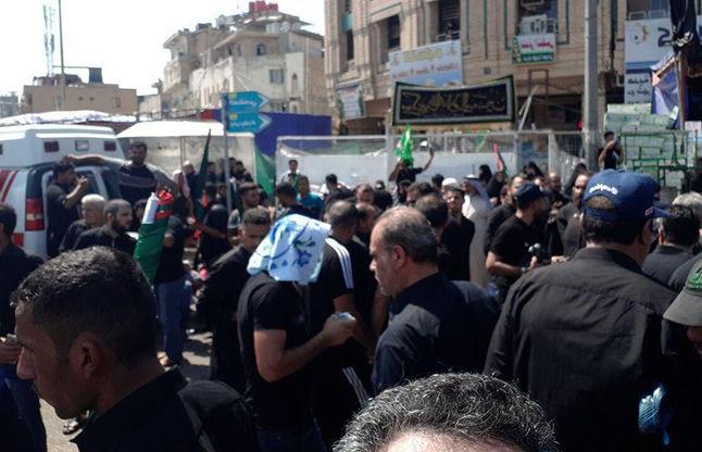 سقوط دیوار بتونی مقابل حسینیه تهرانیها در کربلا + عکس