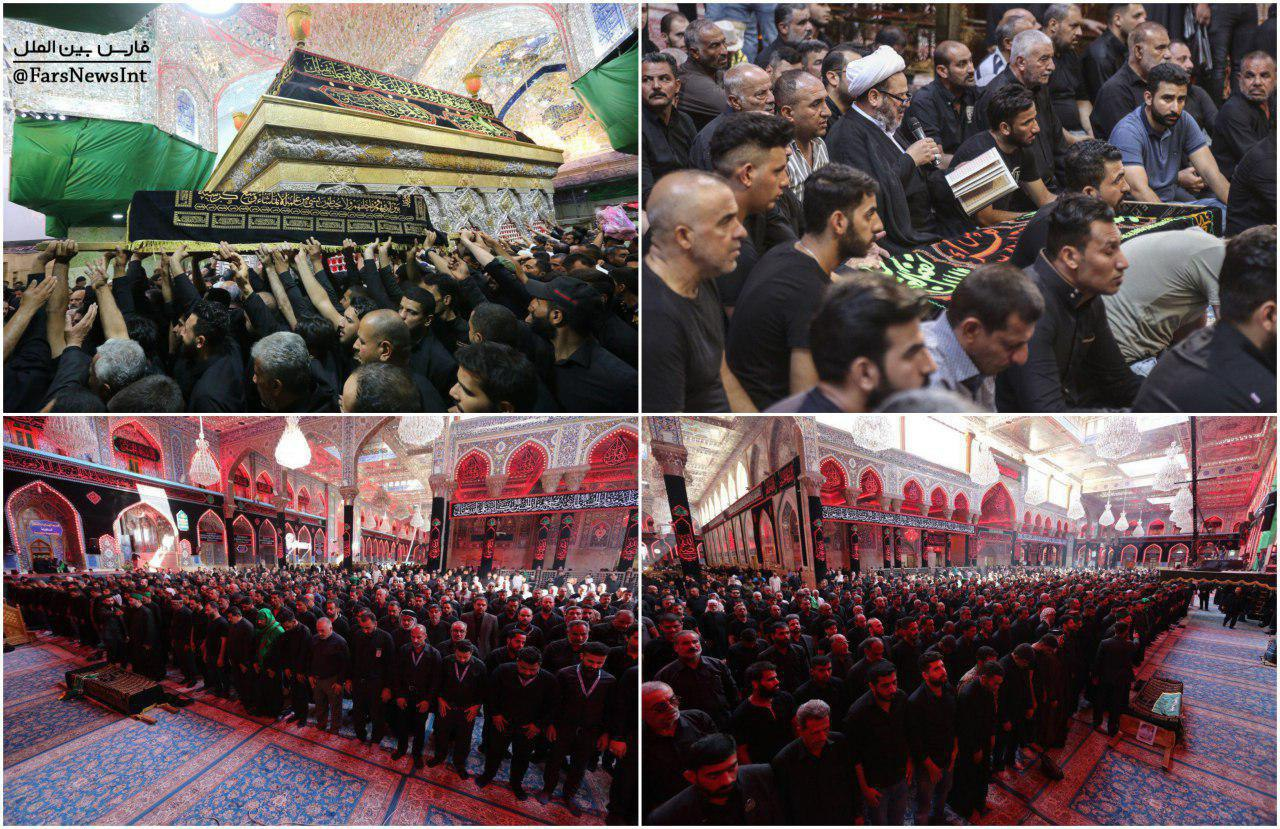 تشییع پیکرهای شهدای حادثه ازدحام در مراسم عاشورا در کربلا + عکس