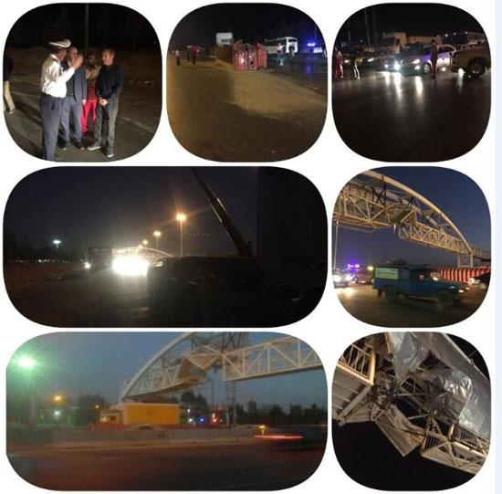 برخورد یک تریلی با پل عابر اتوبان کرج - قزوین + عکس