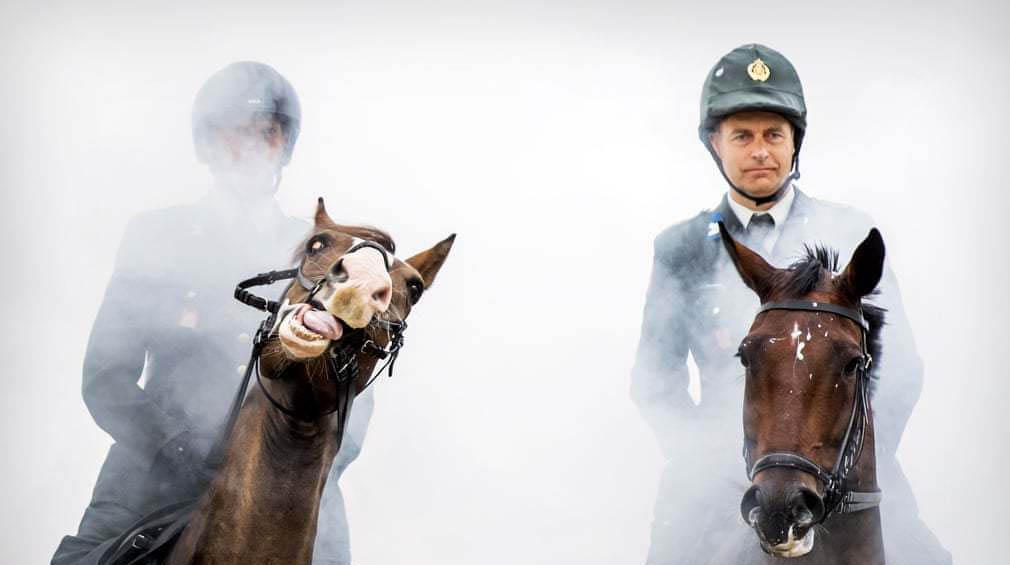 ژست جالب اسب هنگام عبور از میان دودها در هلند + عکس
