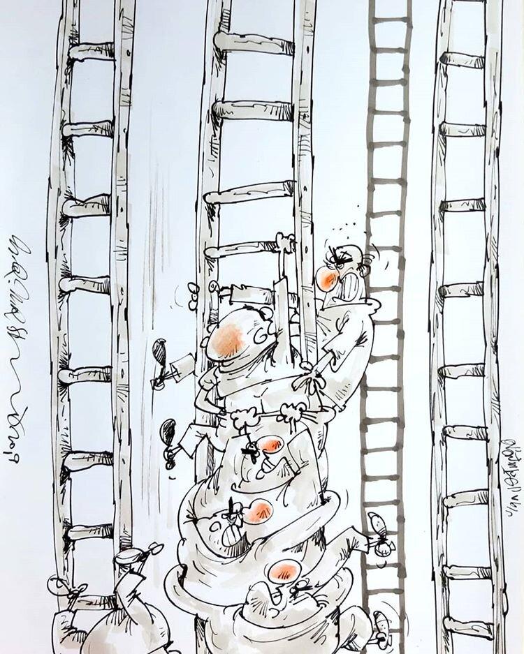 نردبان به اندازه همه هست آقای مجری! + عکس