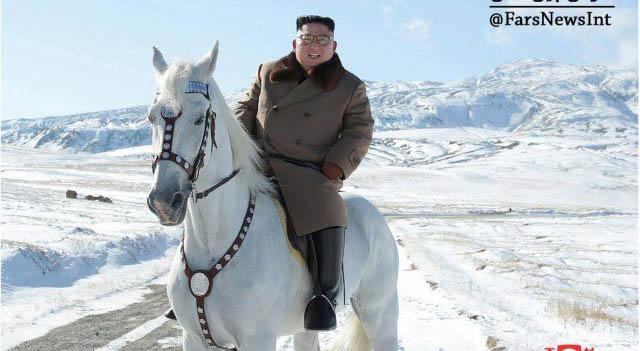 رهبر کره شمالی سوار بر اسب سفید + عکس