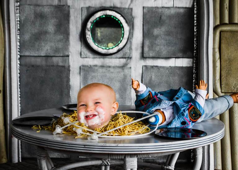 خلاقیت ترسناک زوج جوان در جشن تولد پسرشان + عکس