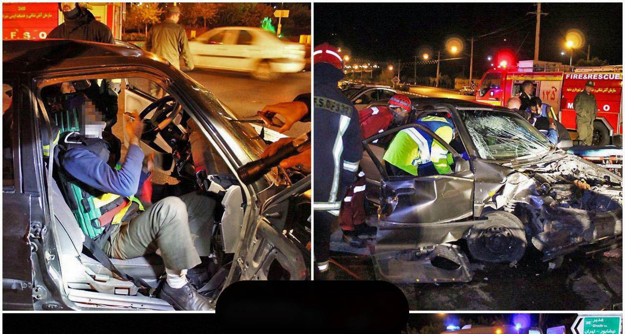 5 مصدوم در تصادف سه خودروی تیبا + عکس