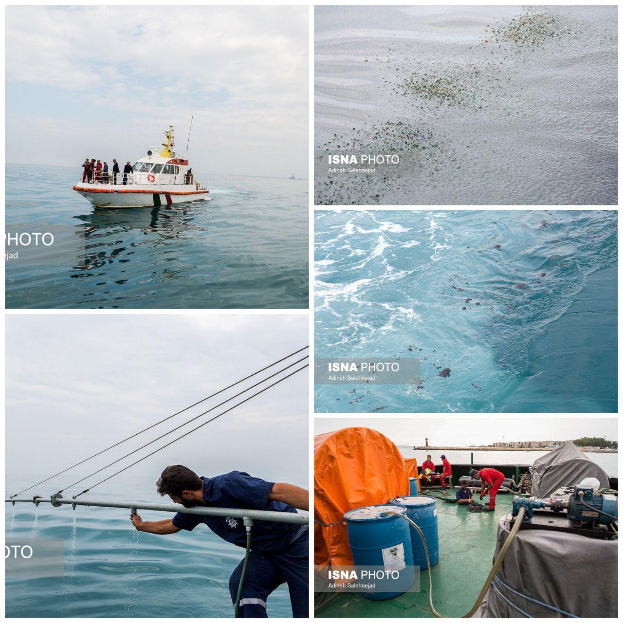 عملیات پاکسازی جزیره خارگ از آلودگی نفتی + عکس
