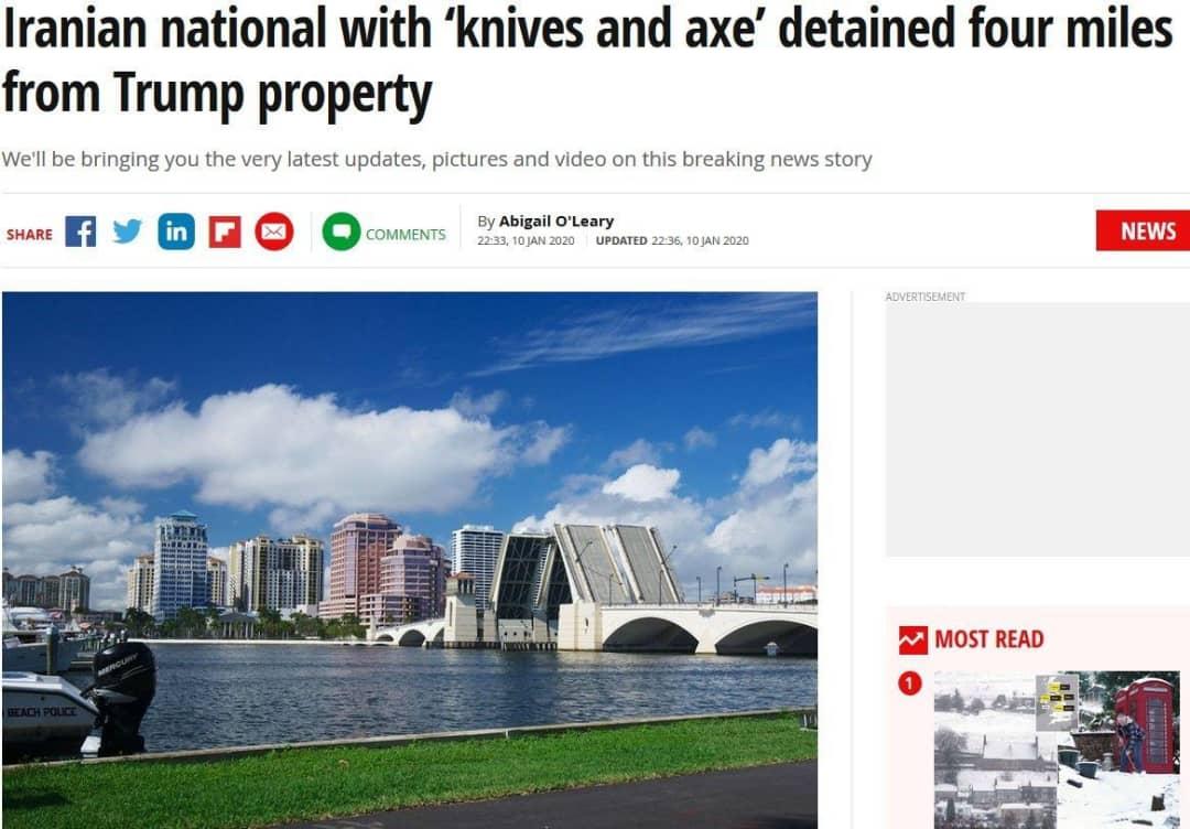 دستگیری یک ایرانی با چاقو و تبر در نزدیکی تفرجگاه ترامپ در فلوریدا +عکس