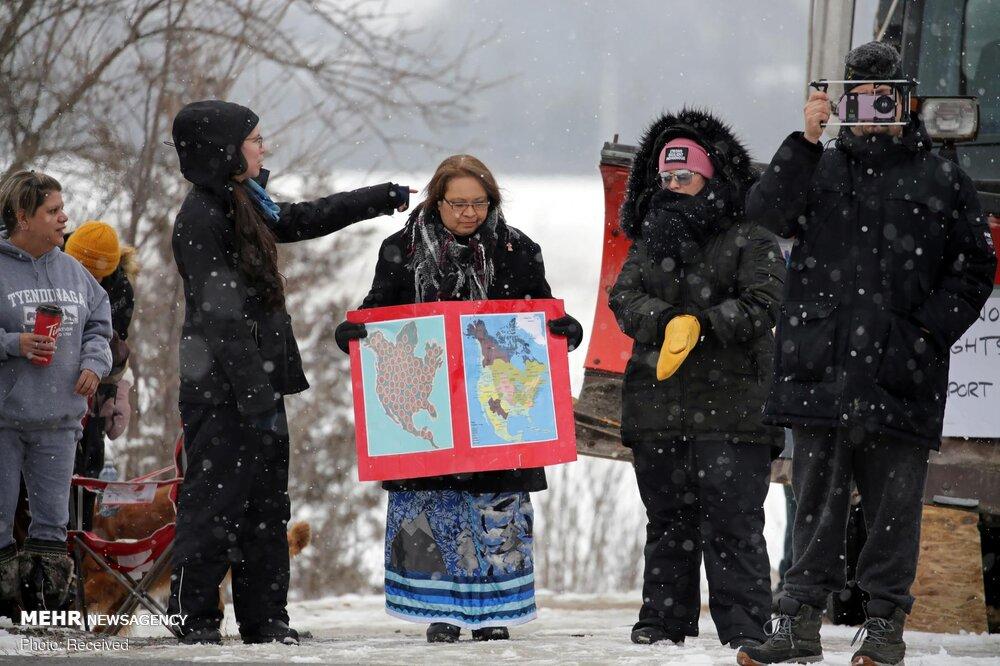 اعتراض علیه احداث خط لوله گاز در کانادا + عکس