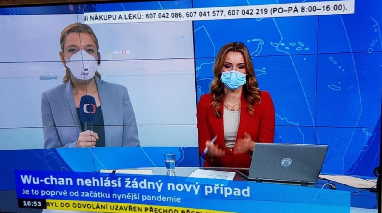 تصویری عجیب کرونایی  از بخش خبری تلویزیون جمهوری چک