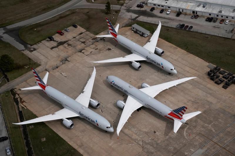 هواپیماهای پارک شده امریکن ایرلاینز در فرودگاه اوکلاهاما + عکس