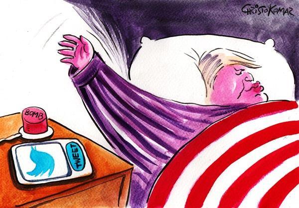 مهمترین کار ترامپ در تخت خواب! /کاریکاتور