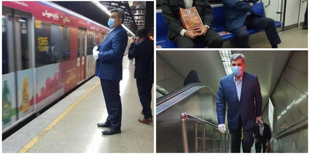 شهردار تهران با مترو به محل کار خود رفت + عکس
