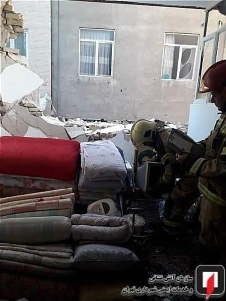تخریب واحد مسکونی به دنبال نشت گاز شهری +تصاویر