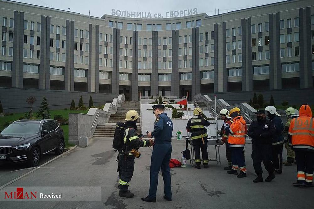 آتش سوزی مرگبار در بیمارستان روسیه و فوت بیماران کرونایی + عکس