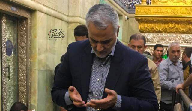 حضور سردار دلها در حرم مطهر حضرت امیرالمومنین (ع) + عکس