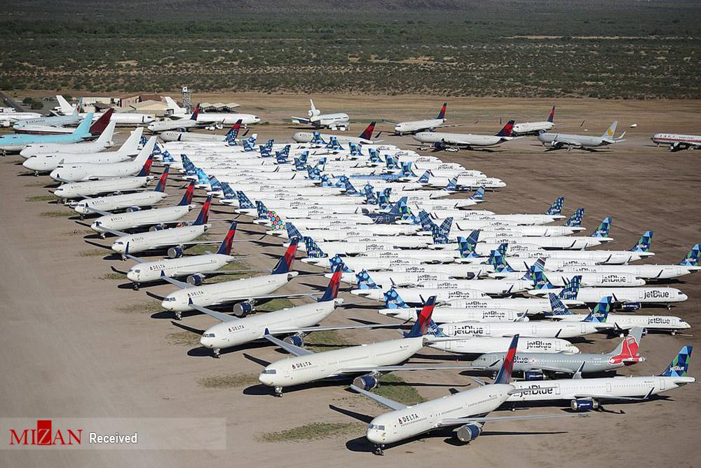 زمینگیر شدن هواپیماهای مسافربری در آمریکا + عکس