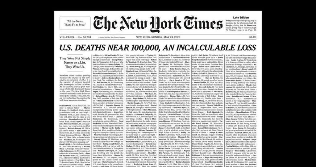 صفحه اول اعتراضی روزنامه نیویورکتایمز + عکس