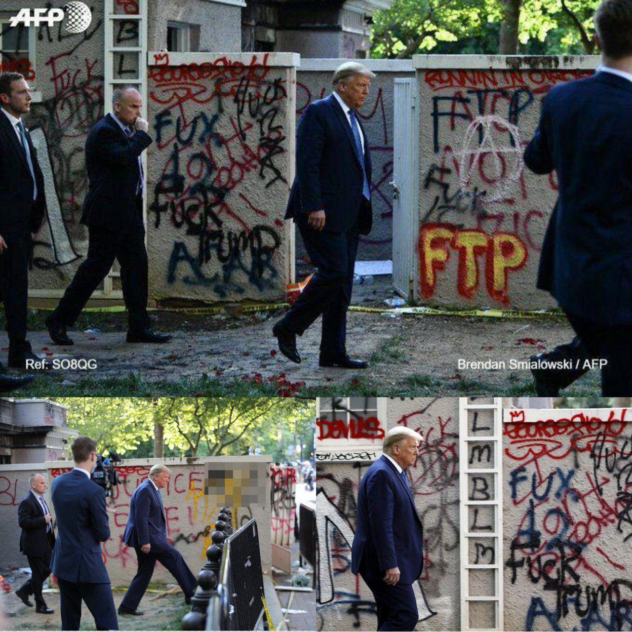قدم زدن ترامپ در مقابل دیوارهایی پر از شعار +عکس