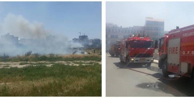فضای سبز جامعه الزهرا قم در آتش سوخت + عکس