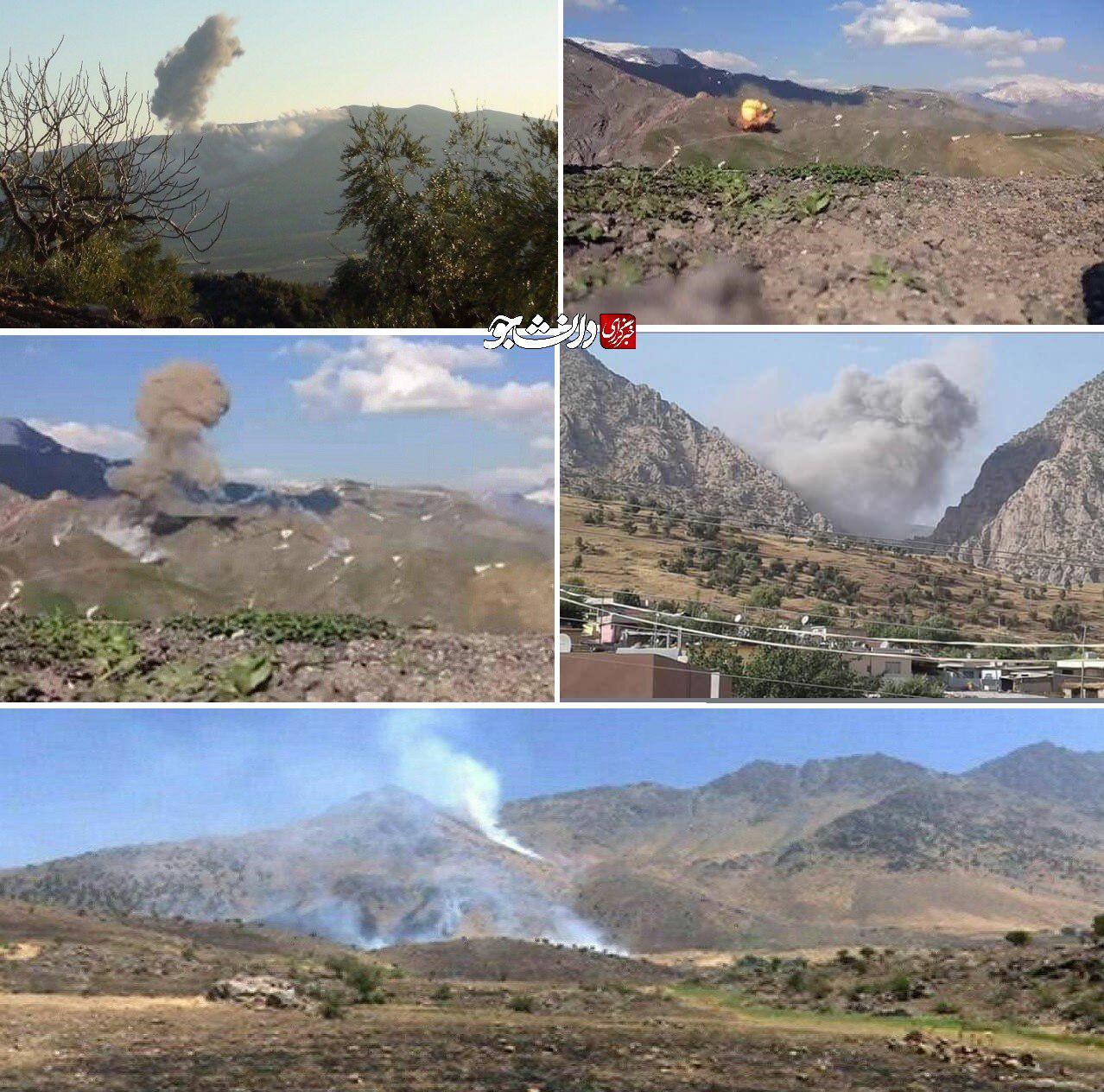 حملات توپخانهای سپاه پاسداران به تروریست های حزب دموکرات + عکس