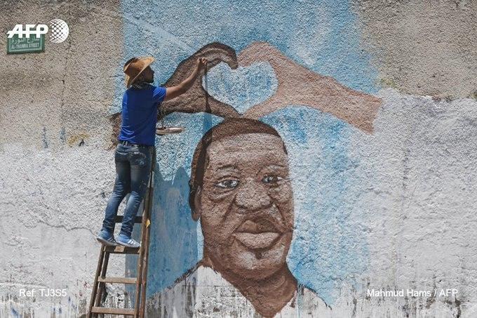 نقاشی دیواری یک هنرمند فلسطینی از «جورج فلوید»+ عکس
