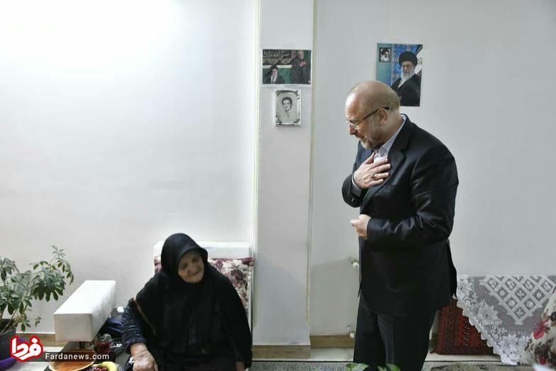 قالیباف با مادر شهیدی که گلدانی را برای او قلمه زده بود دیدار کرد+ عکس