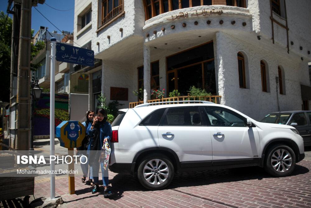 پیادهروهای شیراز در تسخیر خودروها + عکس