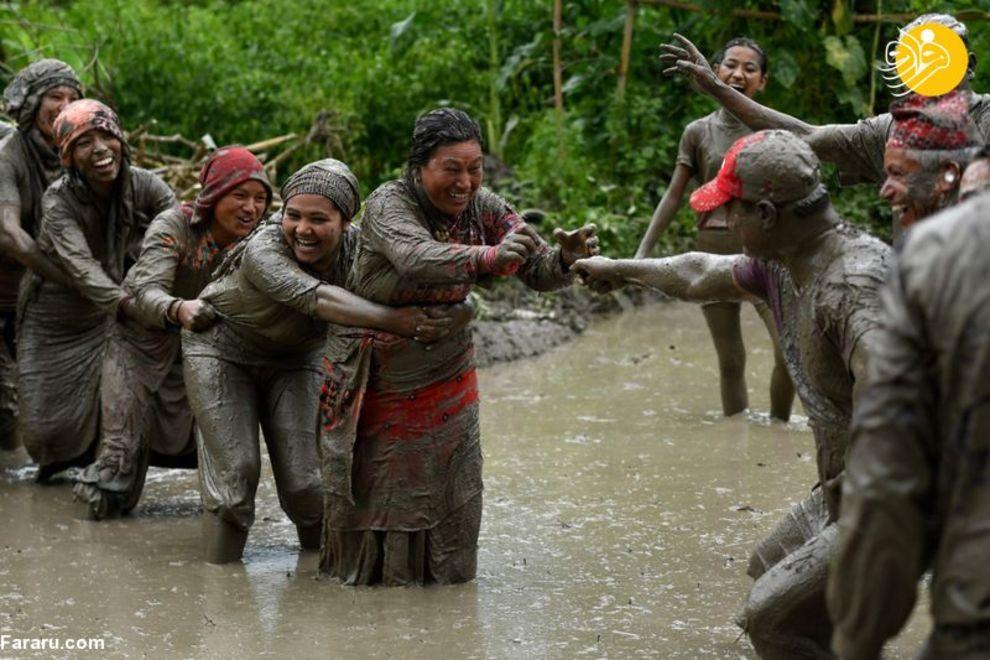 تصاویری از جشن برنجکاری در نپال + عکس