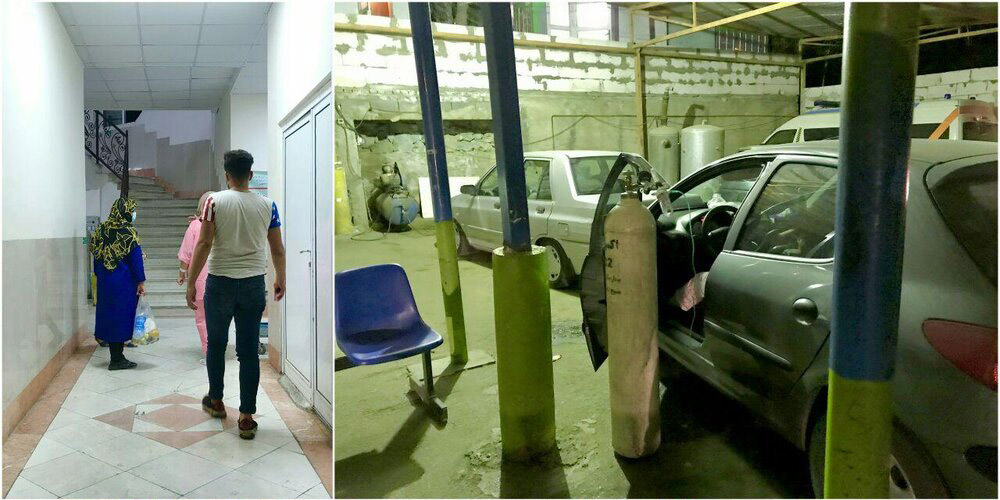 بستری شدن بیماران کرونایی در پارکینگ بیمارستان مسیح دانشوری + عکس ...