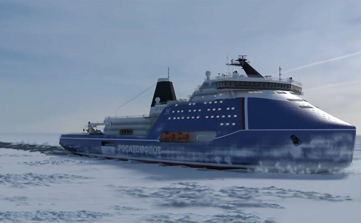 ساخت قوی ترین کشتی یخ شکن اتمی در روسیه + عکس