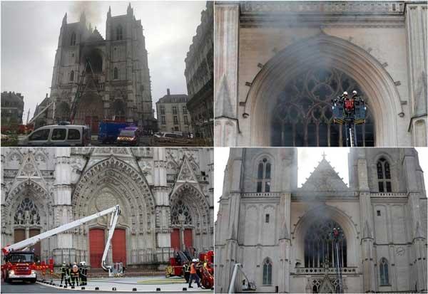 آتش کلیسای جامع «نانت» خاموش شد + عکس