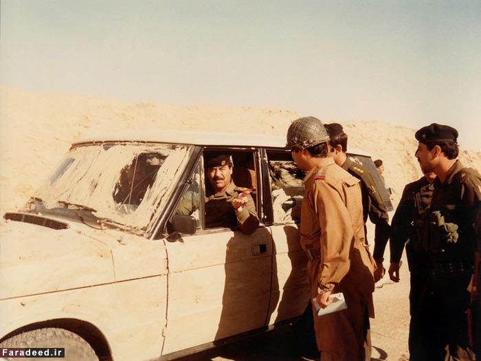 بازدید صدام از جبهه جنگ با ایران + عکس