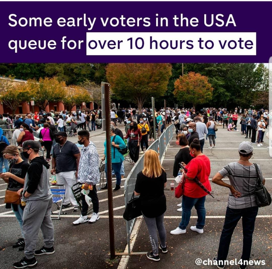 صف ده ساعته برای رای دادن پیش هنگام در آمریکا +تصویر