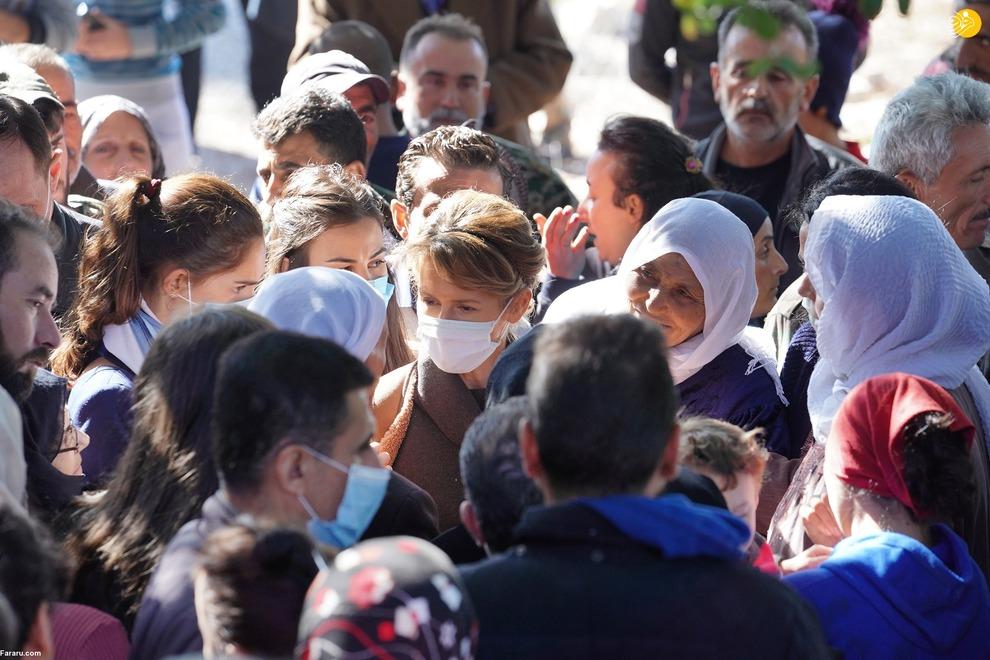 اسما اسد در میان روستائیان سوریه + عکس