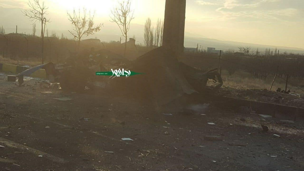 بقایای نیسان بمب گذاری شده در محل ترور شهید فخری زاده + عکس