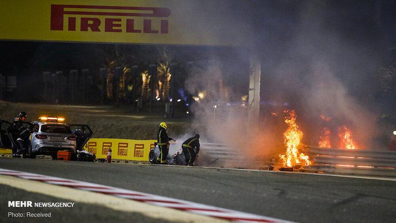 تصادف وحشتناک راننده فرمول یک در مسابقات بحرین + عکس