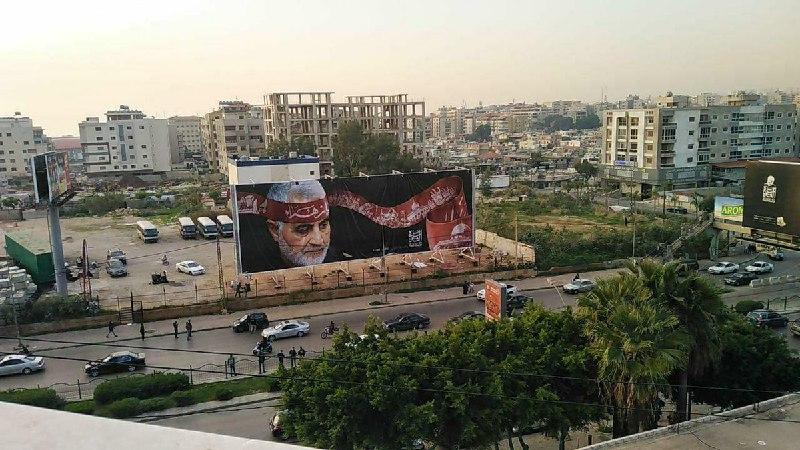تصویر حاج قاسم در جاده منتهی به فرودگاه بیروت + عکس