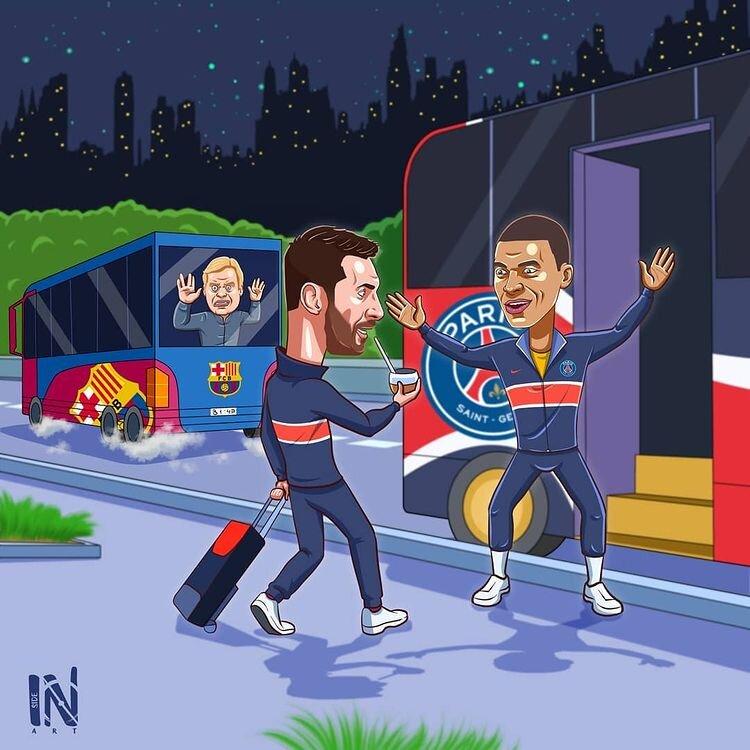 مسی سوار اتوبوس پاریسیها شد +  عکس