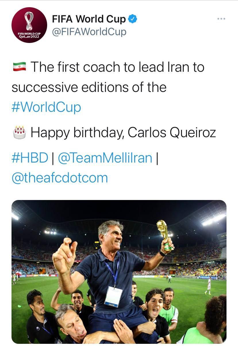 پست توییتری حساب فیفا به مناسبت تولد کارلوس کیروش+ عکس