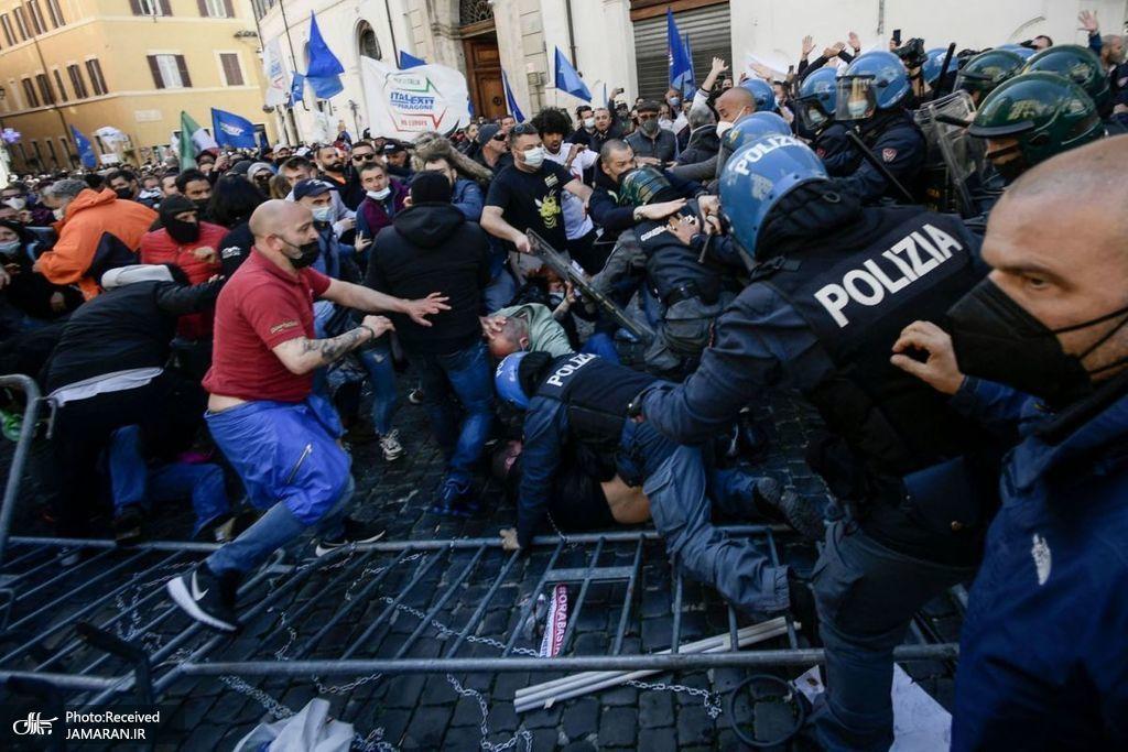 تظاهرات صاحبان رستورانها و مشاغل کوچک در رم + عکس